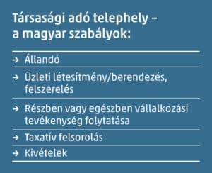 társasági adó telephely