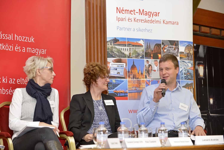 Balról Kiss Csabáné (E.On), Halászné Barlai Katalin (Kirchhoff Hungária) és Lénárd András (Telekom)
