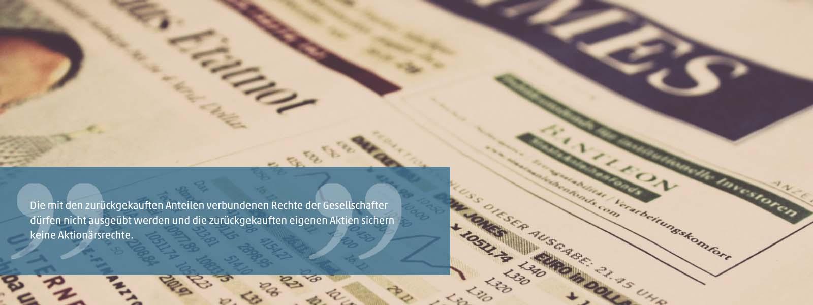 Rückkauf von eigenen Aktien oder Anteilen